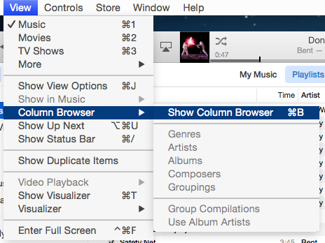 iTunes 12 Column browser